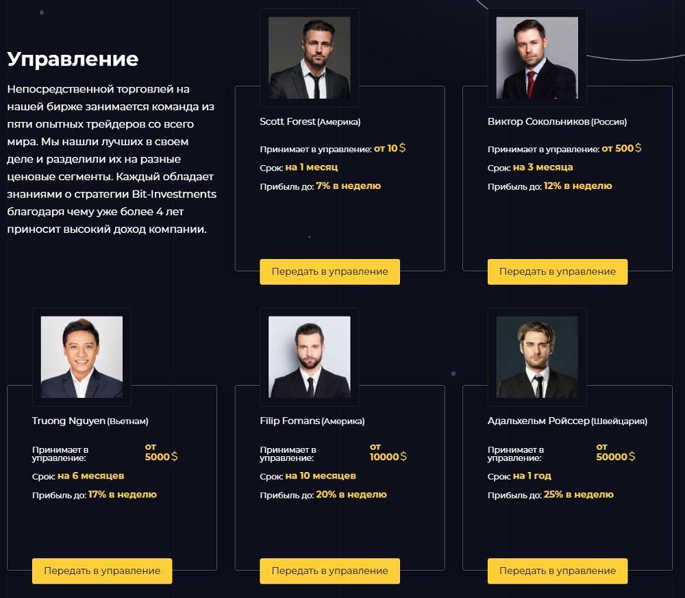 команда трейдеров Bitcoin Investments