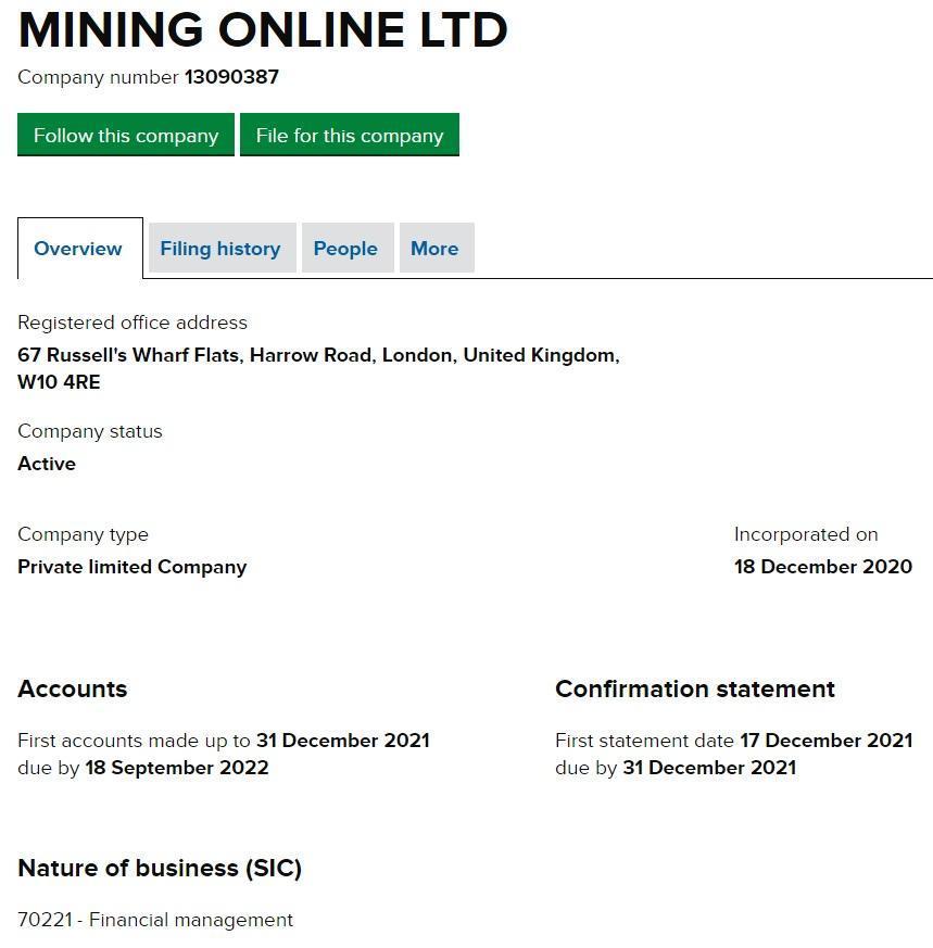 Mining Online (mining.online) официально зарегистрированная компания