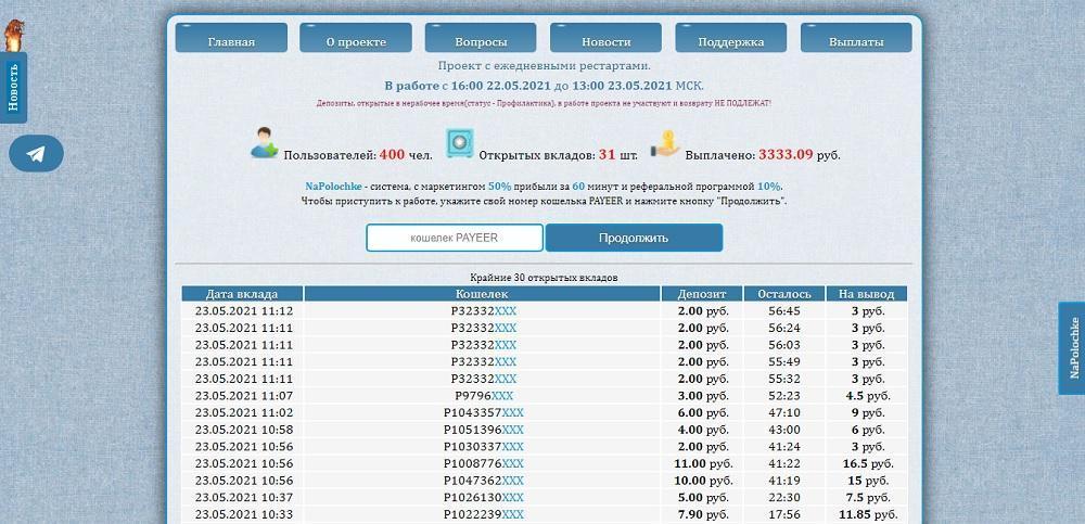 NaPolochke (napolochke.ru) - 50% на вклад через 60 минут [лохотрон]