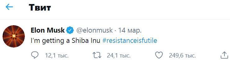 Илон Маск сиба ину