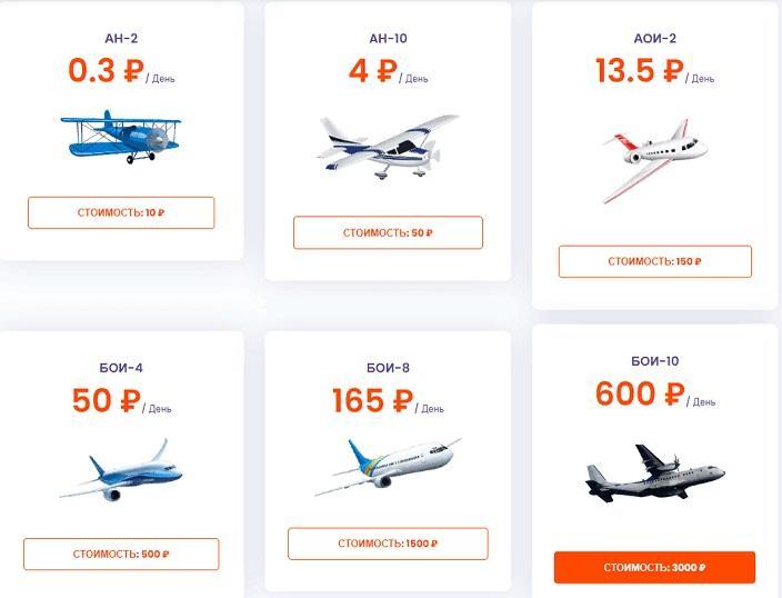Aviationgame.ru предлагает 4 инвестиционных плана