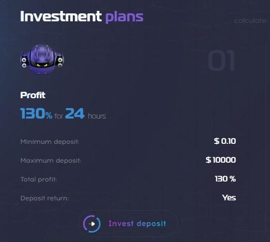 roboteh.top предлагает один инвестиционный план