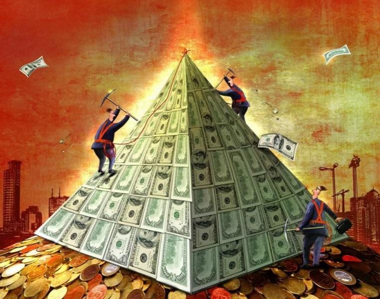 финансовая пирамида — это перераспределение денег между вкладчиками, поэтому «прибыли» для всех у неё нет