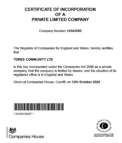 Компания Tores Coin официально зарегистрирована в Великобритании
