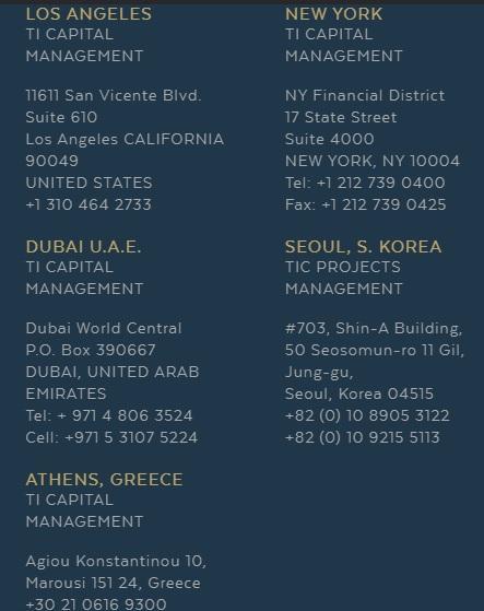 На сайте проекта TI Capital есть как адреса, так и телефоны