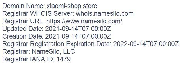 домен xiaomi-shop.store зарегистрирован буквально на днях