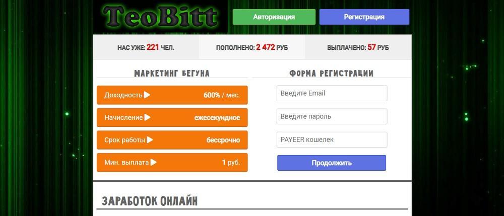 TeoBitt (teobitt.ru) - игра платит или нет? Какие отзывы?